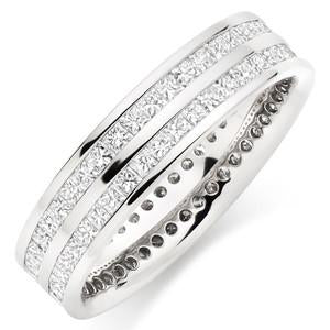 Double Row Princess Eternity Ring In 1.50 Carat Total Weight.