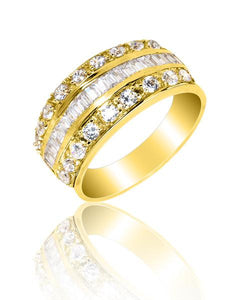 Channel Set Baguette and Round Wedding and Anniversary Ring
