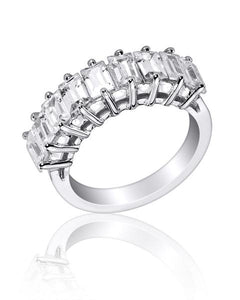Emerald Cut Prong Set Wedding and Anniversary Ring