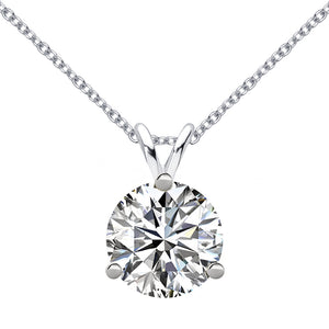 14 KARAT WHITE GOLD 3-PRONG ROUND PENDANT WITH ROLO CHAIN. BUILD YOUR OWN PENDANT.