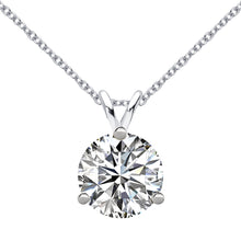 18 KARAT WHITE GOLD 3-PRONG ROUND PENDANT WITH ROLO CHAIN. BUILD YOUR OWN PENDANT.