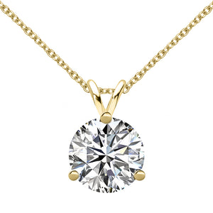 14 KARAT YELLOW GOLD 3-PRONG ROUND PENDANT WITH ROLO CHAIN. BUILD YOUR OWN PENDANT.