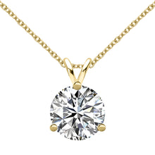 18 KARAT YELLOW GOLD 3-PRONG ROUND PENDANT WITH ROLO CHAIN. BUILD YOUR OWN PENDANT.