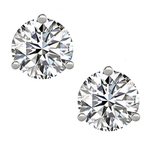 18 KARAT WHITE GOLD 3-PRONG ROUND. Choose From 0.25 CTW To 10.00 CTW