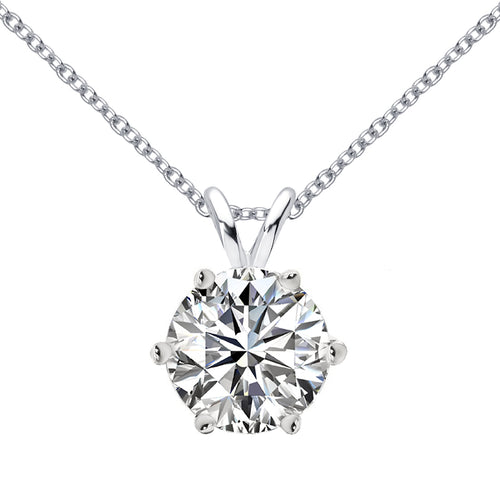 14 KARAT WHITE GOLD 6-PRONG ROUND PENDANT WITH ROLO CHAIN. BUILD YOUR OWN PENDANT.