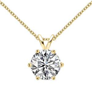 18 KARAT YELLOW GOLD 6-PRONG ROUND PENDANT WITH ROLO CHAIN. BUILD YOUR OWN PENDANT.