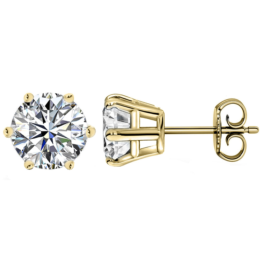 14 KARAT YELLOW GOLD 6-PRONG ROUND 10.00 C.T.W