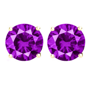 14 KARAT YELLOW GOLD AMETHYST 4-PRONG ROUND. Choose From 0.25 CTW To 10.00 CTW