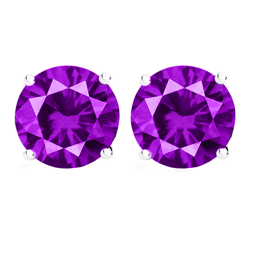 14 KARAT WHITE GOLD AMETHYST 4-PRONG ROUND. Choose From 0.25 CTW To 10.00 CTW