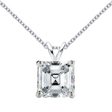 18 KARAT WHITE GOLD ASSCHER PENDANT WITH ROLO CHAIN. BUILD YOUR OWN PENDANT.