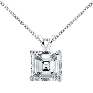 14 KARAT WHITE GOLD ASSCHER PENDANT WITH ROLO CHAIN. BUILD YOUR OWN PENDANT.