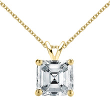14 KARAT YELLOW GOLD ASSCHER PENDANT WITH ROLO CHAIN. BUILD YOUR OWN PENDANT.