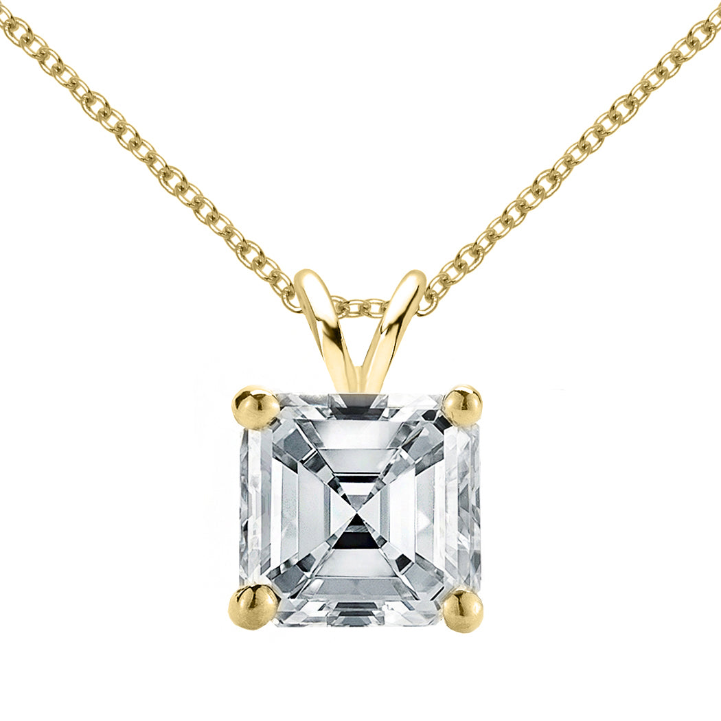 18 KARAT YELLOW GOLD ASSCHER PENDANT WITH ROLO CHAIN. BUILD YOUR OWN PENDANT.