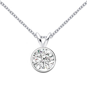 14 KARAT WHITE GOLD ROUND BEZEL PENDANT WITH ROLO CHAIN. BUILD YOUR OWN PENDANT.