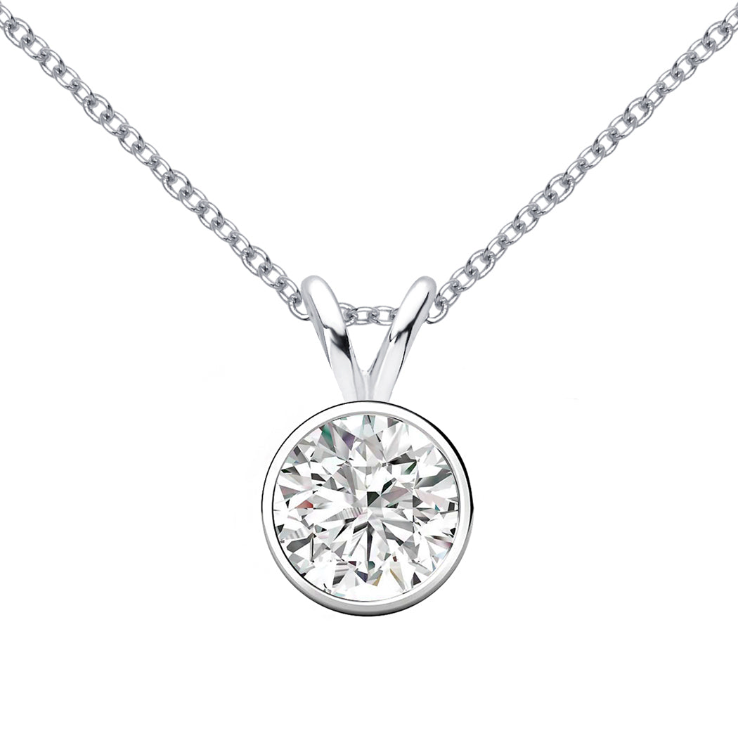 18 KARAT WHITE GOLD ROUND BEZEL PENDANT WITH ROLO CHAIN. BUILD YOUR OWN PENDANT.