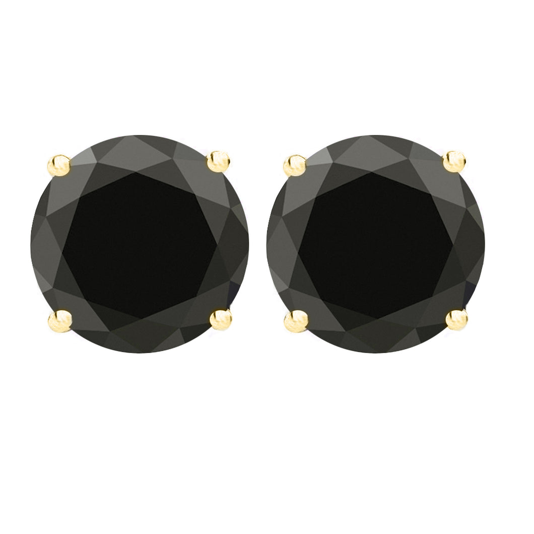 14 KARAT YELLOW GOLD BLACK 4-PRONG ROUND. Choose From 0.25 CTW To 10.00 CTW
