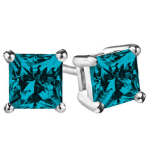 14 KARAT WHITE GOLD BLUE TOPAZ PRINCESS. Choose From 0.25 CTW To 10.00 CTW