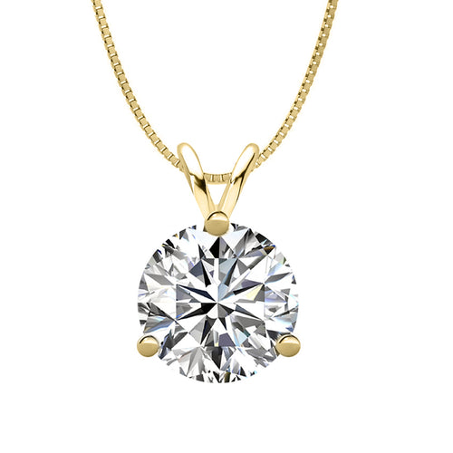 14 KARAT YELLOW GOLD 3-PRONG ROUND PENDANT WITH BOX CHAIN. BUILD YOUR OWN PENDANT.