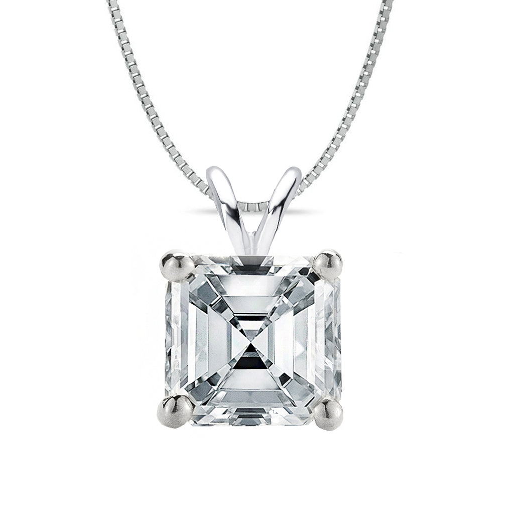 14 KARAT WHITE GOLD ASSCHER PENDANT WITH BOX CHAIN. BUILD YOUR OWN PENDANT.