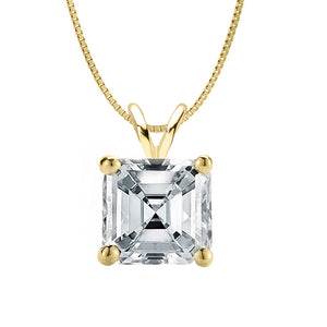 14 KARAT YELLOW GOLD ASSCHER PENDANT WITH BOX CHAIN. BUILD YOUR OWN PENDANT.