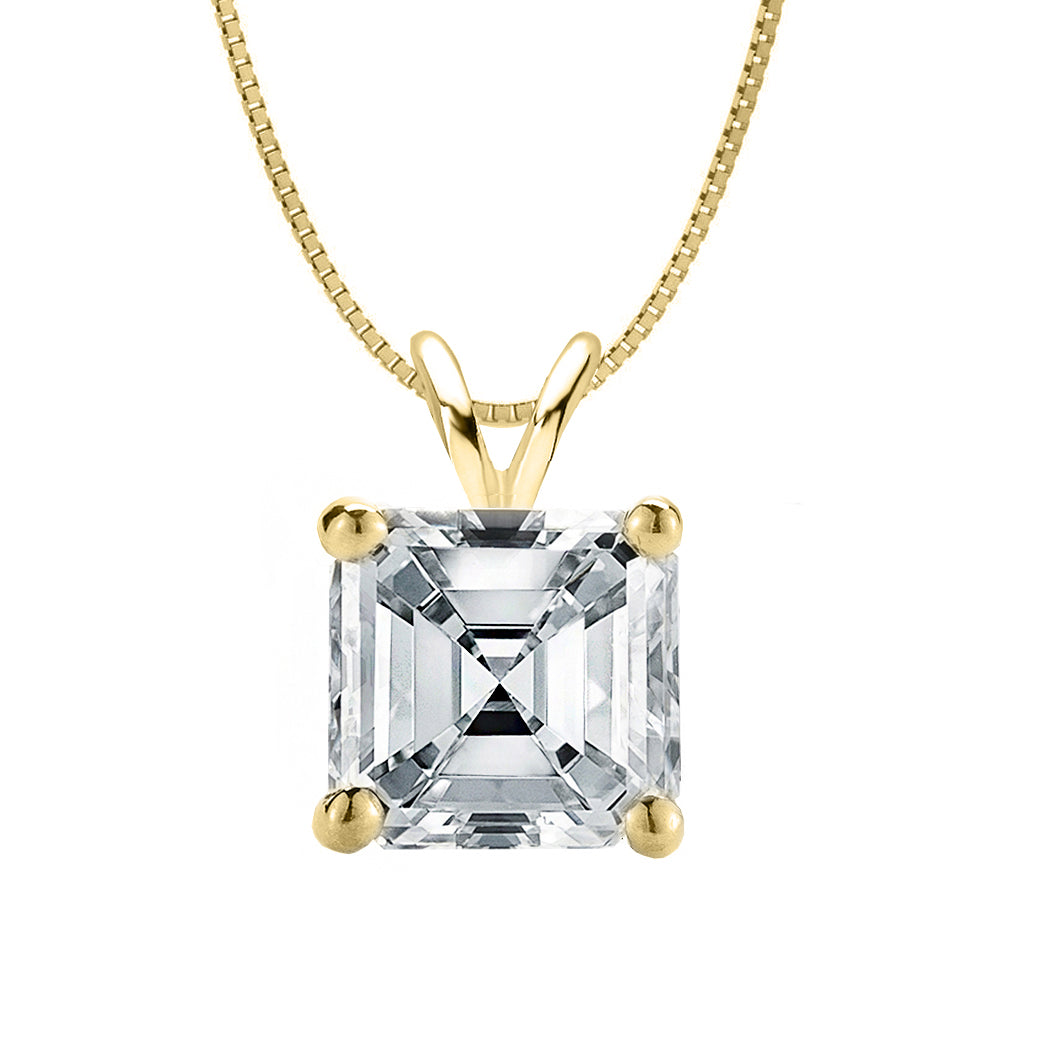 18 KARAT YELLOW GOLD ASSCHER PENDANT WITH BOX CHAIN. BUILD YOUR OWN PENDANT.