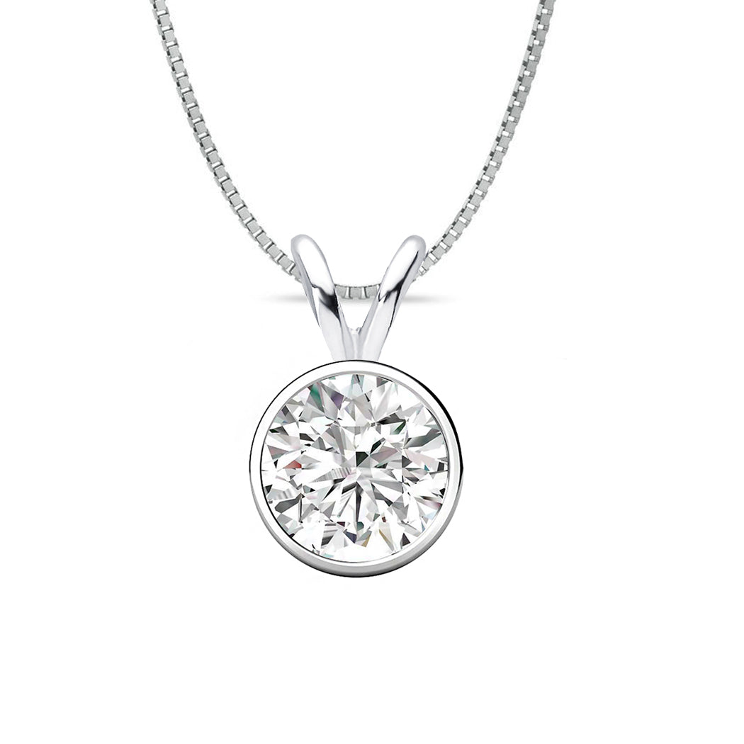 18 KARAT WHITE GOLD ROUND BEZEL PENDANT WITH BOX CHAIN. BUILD YOUR OWN PENDANT.
