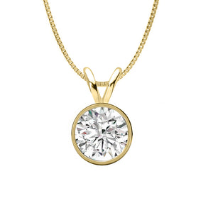 14 KARAT YELLOW GOLD ROUND BEZEL PENDANT WITH BOX CHAIN. BUILD YOUR OWN PENDANT.