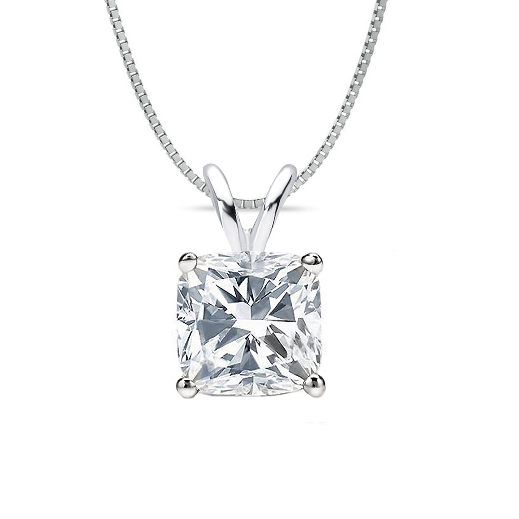 18 KARAT WHITE GOLD CUSHION PENDANT WITH BOX CHAIN. BUILD YOUR OWN PENDANT.