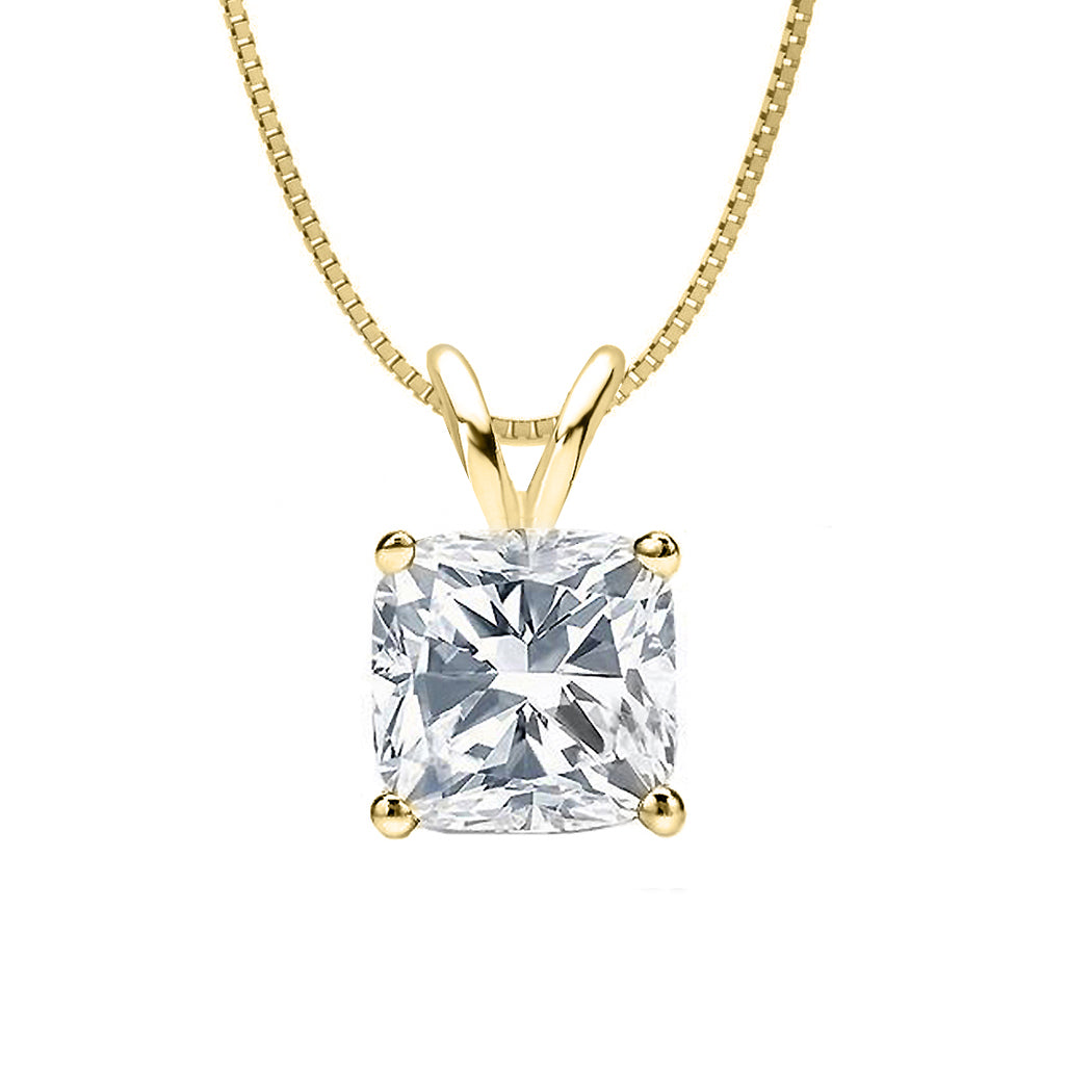 14 KARAT YELLOW GOLD CUSHION PENDANT WITH BOX CHAIN. BUILD YOUR OWN PENDANT.