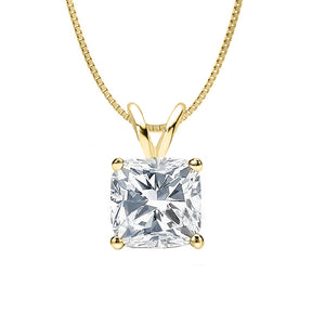 18 KARAT YELLOW GOLD CUSHION PENDANT WITH BOX CHAIN. BUILD YOUR OWN PENDANT.