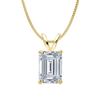 14 KARAT YELLOW GOLD EMERALD PENDANT WITH BOX CHAIN. BUILD YOUR OWN PENDANT.