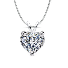 18 KARAT WHITE GOLD HEART PENDANT WITH BOX CHAIN. BUILD YOUR OWN PENDANT.