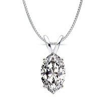 14 KARAT WHITE GOLD MARQUISE PENDANT WITH BOX CHAIN. BUILD YOUR OWN PENDANT.
