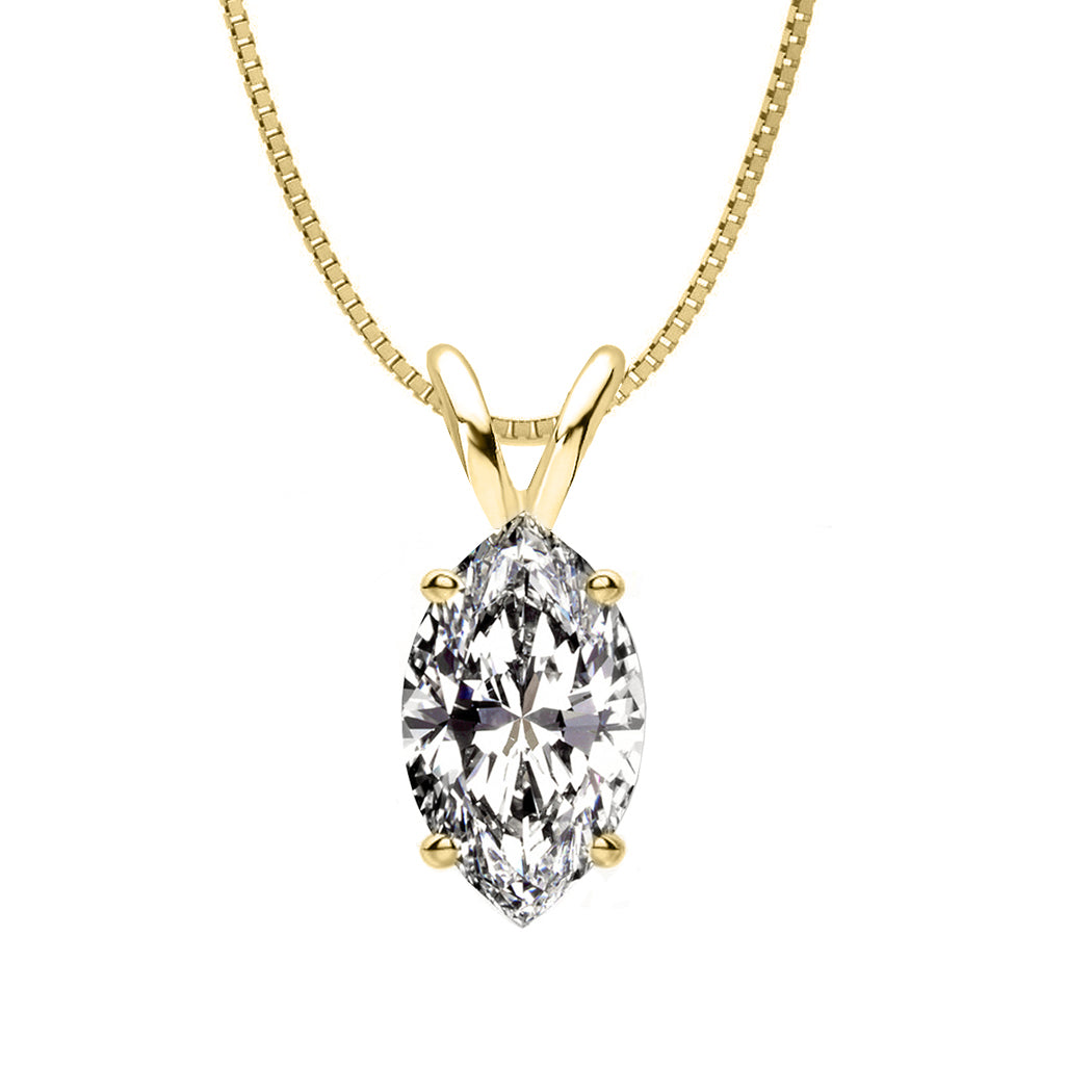 18 KARAT YELLOW GOLD MARQUISE PENDANT WITH BOX CHAIN. BUILD YOUR OWN PENDANT.