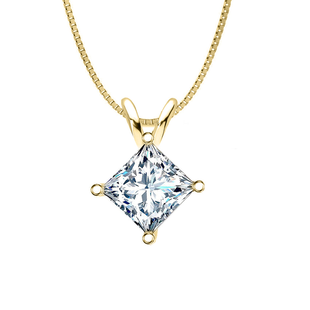 18 KARAT YELLOW GOLD PRINCESS PENDANT WITH BOX CHAIN. BUILD YOUR OWN PENDANT.
