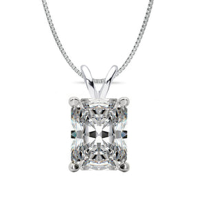 14 KARAT WHITE GOLD RADIANT PENDANT WITH BOX CHAIN. BUILD YOUR OWN PENDANT.