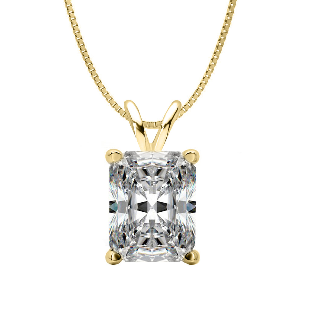 18 KARAT YELLOW GOLD RADIANT PENDANT WITH BOX CHAIN. BUILD YOUR OWN PENDANT.