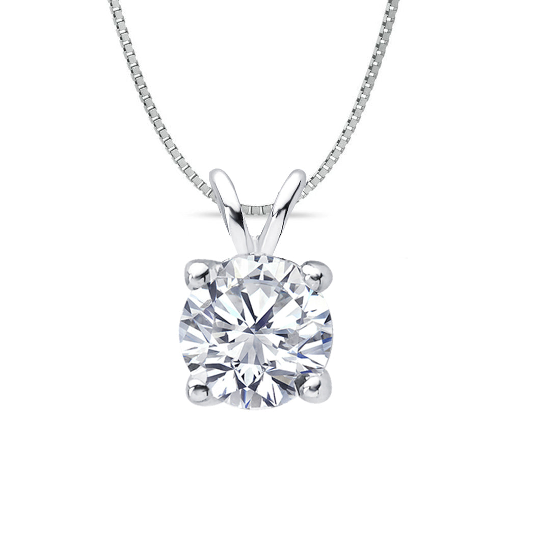 18 KARAT WHITE GOLD 4-PRONG ROUND PENDANT WITH BOX CHAIN. BUILD YOUR OWN PENDANT.