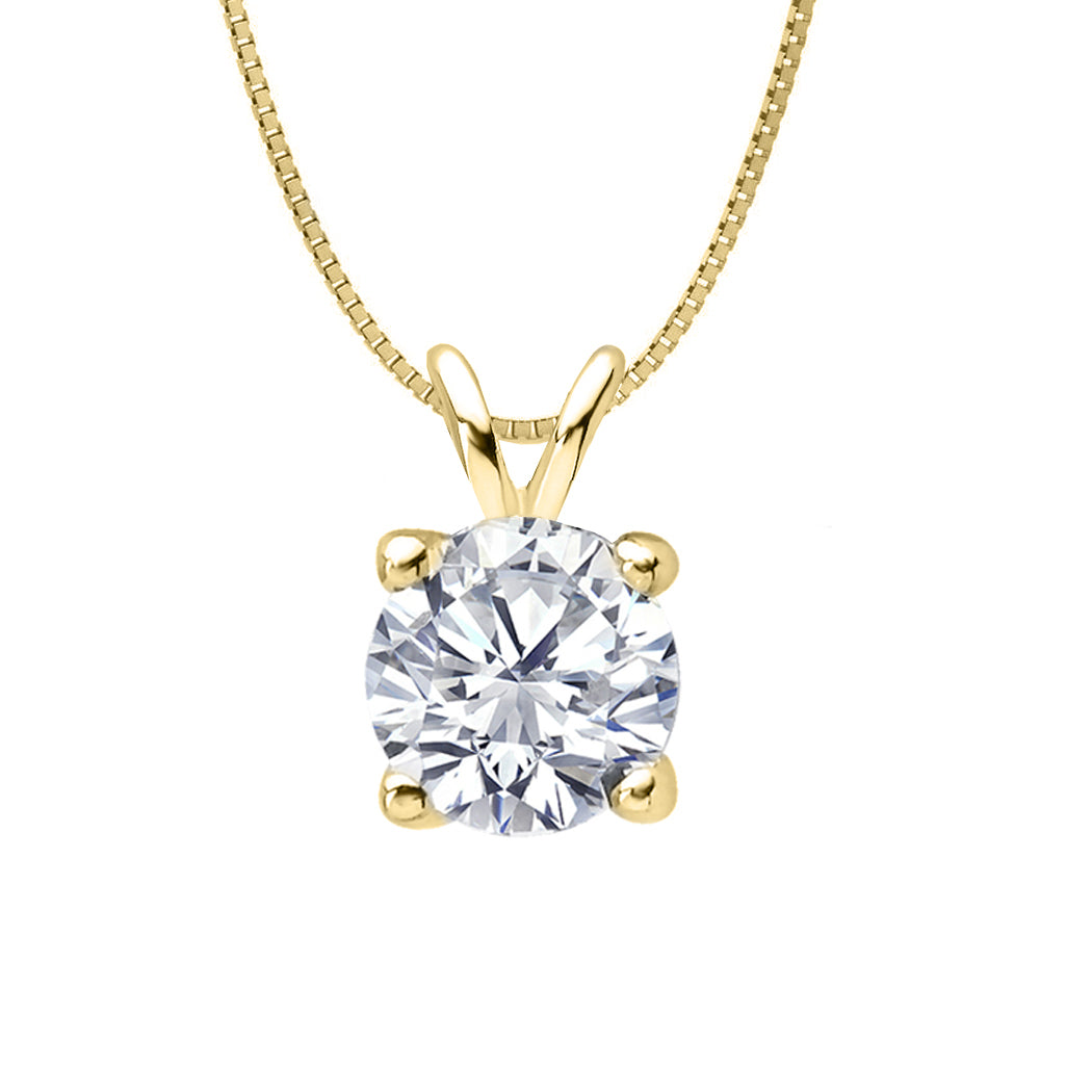 18 KARAT YELLOW GOLD 4-PRONG ROUND PENDANT WITH BOX CHAIN. BUILD YOUR OWN PENDANT.