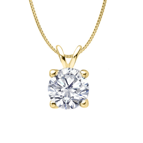 14 KARAT YELLOW GOLD 4-PRONG ROUND PENDANT WITH BOX CHAIN. BUILD YOUR OWN PENDANT.