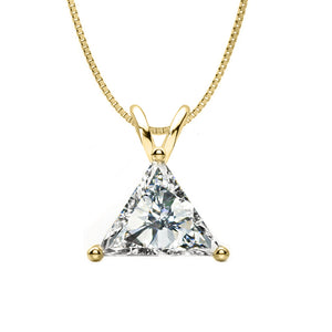 14 KARAT YELLOW GOLD TRAINGLE PENDANT WITH BOX CHAIN. BUILD YOUR OWN PENDANT.