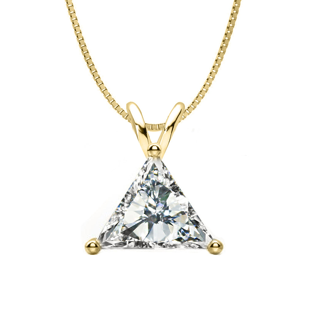 18 KARAT YELLOW GOLD TRIANGLE PENDANT WITH BOX CHAIN. BUILD YOUR OWN PENDANT.