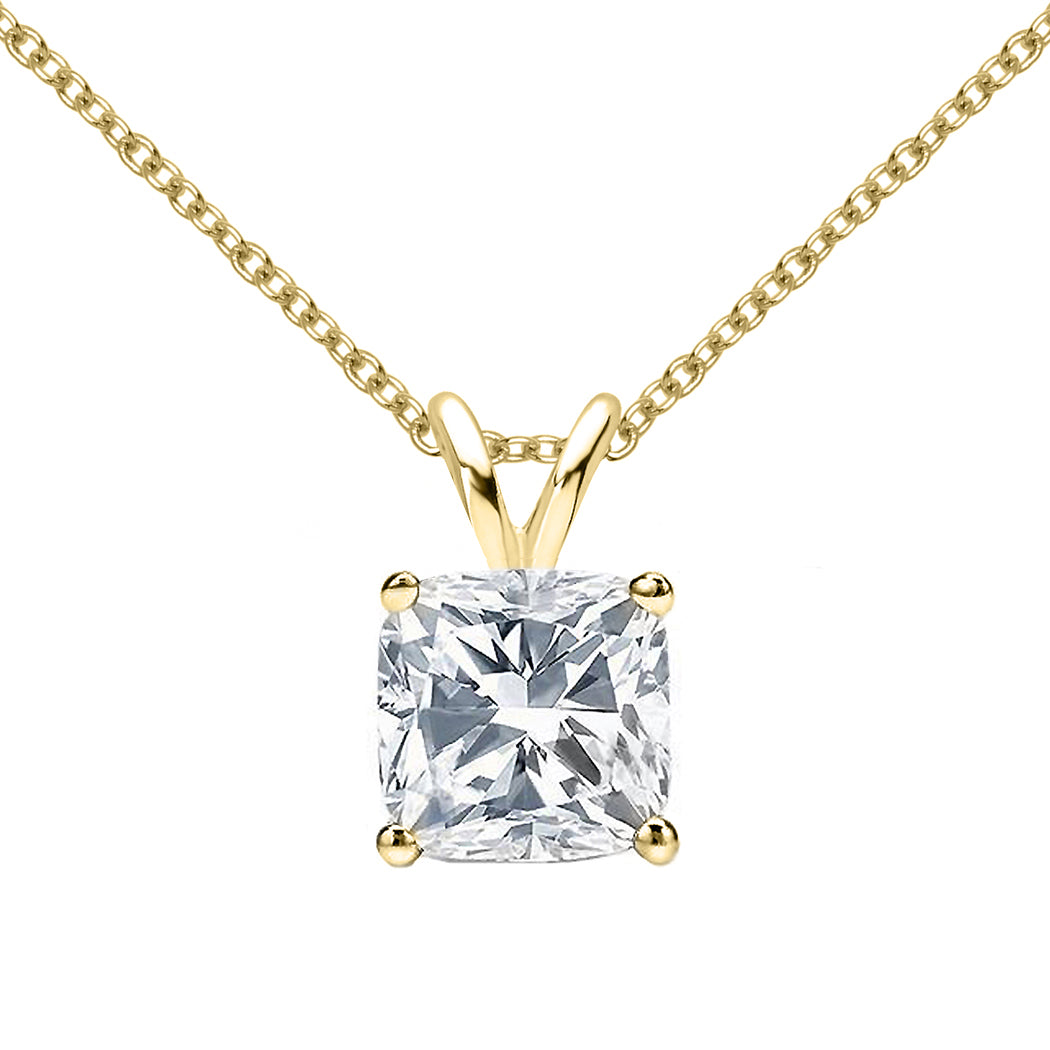18 KARAT YELLOW GOLD CUSHION PENDANT WITH ROLO CHAIN. BUILD YOUR OWN PENDANT.