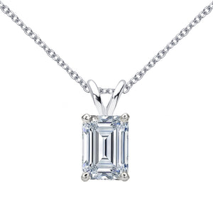 14 KARAT WHITE GOLD EMERALD PENDANT WITH ROLO CHAIN. BUILD YOUR OWN PENDANT.