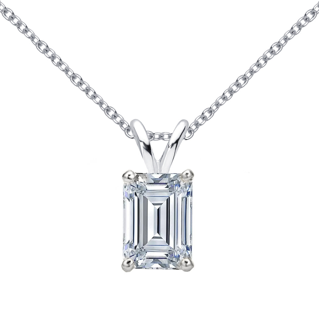 18 KARAT WHITE GOLD EMERALD PENDANT WITH ROLO CHAIN. BUILD YOUR OWN PENDANT.