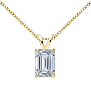 14 KARAT YELLOW GOLD EMERALD PENDANT WITH ROLO CHAIN. BUILD YOUR OWN PENDANT.