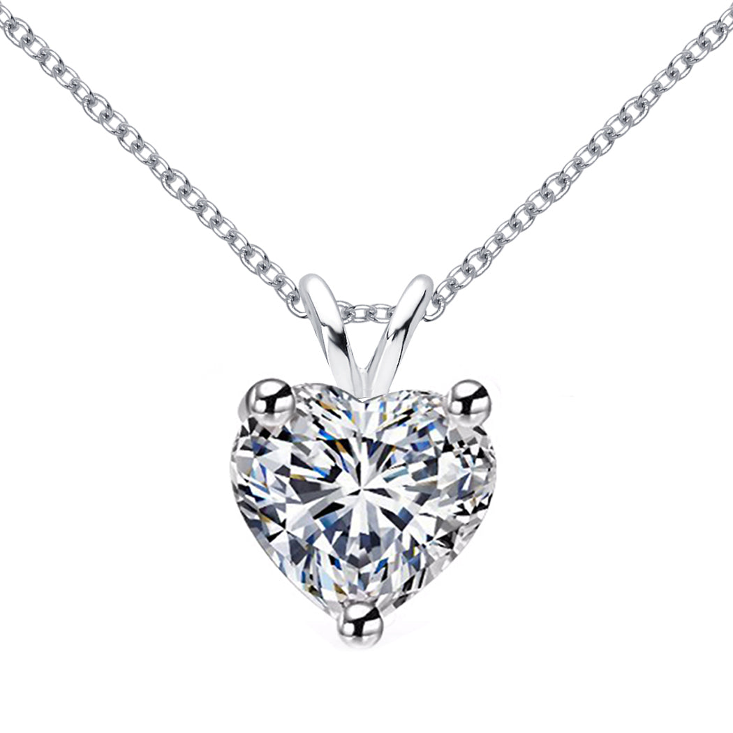 14 KARAT WHITE GOLD HEART PENDANT WITH ROLO CHAIN. BUILD YOUR OWN PENDANT.