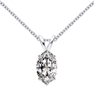 14 KARAT WHITE GOLD MARQUISE PENDANT WITH ROLO CHAIN. BUILD YOUR OWN PENDANT.