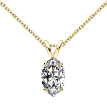 14 KARAT YELLOW GOLD MARQUISE PENDANT WITH ROLO CHAIN. BUILD YOUR OWN PENDANT.