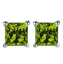 14 KARAT WHITE GOLD PERIDOT PRINCESS. Choose From 0.25 CTW To 10.00 CTW